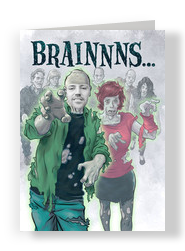 BRAINS… (Boy Zombie) 5x7 Folded Card