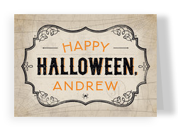 Halloween Label with Webs 7x5 Folded Card