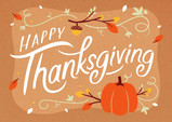 Happy Thanksgiving Fall Lettering 7x5 Folded Card