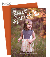 Give Thanks Overlay with Leaves 5x7 Flat Card