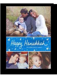 Blue Brush Strokes Hanukkah 5x7 Flat Card