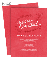 Holiday Invitation - Holly on Red 5x7 Flat Card