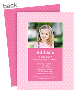 CYO Invitation - White Dots on Pink 5x7 Flat Card