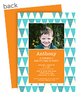 CYO Invitation - Teal Triangles with Orange 5x7 Flat Card