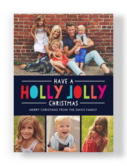 Holly Jolly on Blue 5x7 Flat Card