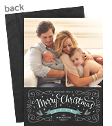 Merry Christmas on chalkboard with blue 5x7 Flat Card