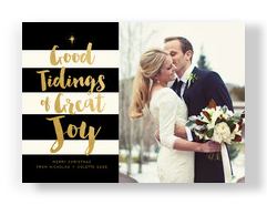 good tidings of great joy on black and white stripes 7x5 Flat Card