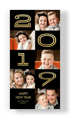 2019 - Gold Numbers on Black 4x8 Flat Card