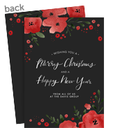 Christmas Floral on Black 5x7 Flat Card