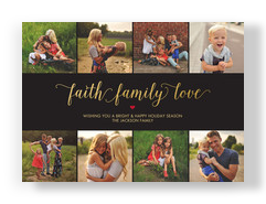 Faith Family Love - Gold on Black 7x5 Flat Card