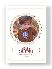 Merry Christmas Trad Circle Photo 5x7 Flat Card