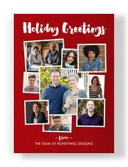 Holiday Greetings on Red 5x7 Flat Card