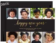 Happy New Year on Black 7x5 Flat Card