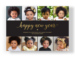 Happy New Year on Black 7x5 Flat Card