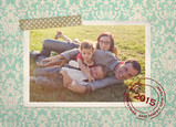 Red Christmas Stamp 7x5 Postcard