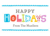 Playful Happy Holidays Lettering 7x5 Postcard