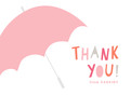 Thank You - Pink Umbrella 5.25x3.75 Folded Card