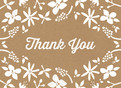Thank You - Floral on Kraft 5.25x3.75 Folded Card