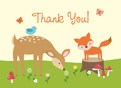 Baby Shower Thanks You - Forest Animals 5.25x3.75 Folded Card