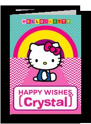 Hello Kitty - Happy Wishes 5x7 Folded Card