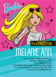 Barbie - Party Invitation with Stars 5x7 Flat Card