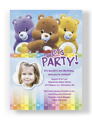 Care Bears - Invitation with Hearts 5x7 Flat Card