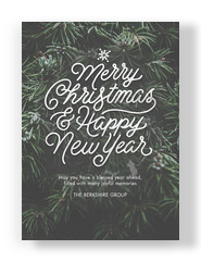Merry Lettering on Pine 5x7 Flat Card