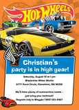Hot Wheels - Party Invitation 5x7 Flat Card