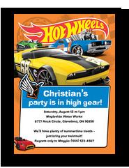 Hot Wheels - Party Invitation 5x7 Flat Card