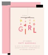 Baby Mobile - Girl 5x7 Flat Card