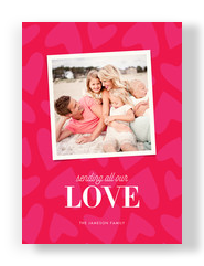 Pink Hearts Photo 5x7 Flat Card