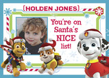 Paw Patrol - Nice List 7x5 Folded Card