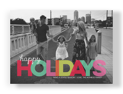 Happy Holidays - Colorful Lettering 7x5 Flat Card
