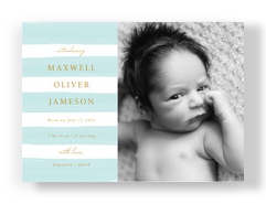 Blue Stripes Baby Announcement 7x5 Flat Card