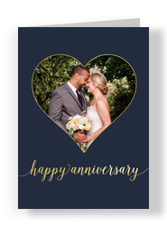 Happy Anniversary Photo Card - Heart 5x7 Folded Card