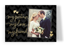 Script Valentine's Day Photo Card on Black 7x5 Folded Card
