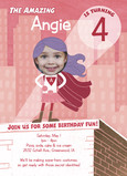 Superhero Birthday Invitation - Girl 5x7 Flat Card