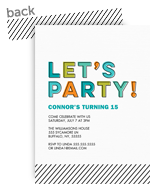 Let's Party! Birthday Invitation - Teal 5x7 Flat Card