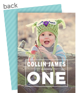 Block 1-year-old Photo Invitation - Blue 5x7 Flat Card