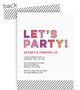 Let's Party! Birthday Invitation - Pink 5x7 Flat Card