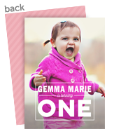 Block 1-year-old Photo Invitation - Pink 5x7 Flat Card
