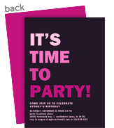 Custom Invitation - Bold Pink on Purple 5x7 Flat Card