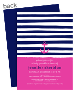 Custom Invitation - Anchor and Stripes 5x7 Flat Card