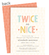 Twice as Nice - Baby Shower Invitation 5x7 Flat Card