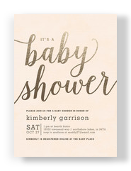 Gold Script Baby Shower Invitation 5x7 Flat Card