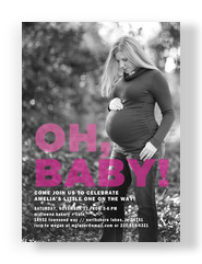 Oh, Baby - Photo Baby Shower Invitation Pink 5x7 Flat Card