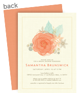 Custom Invitation - Soft Coral Watercolor Floral 5x7 Flat Card