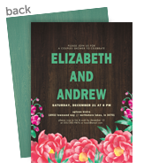 Custom Invitation - Floral on Wood Grain 5x7 Flat Card