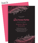 Quinceañera Invitation - Feather Design 5x7 Flat Card
