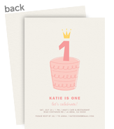 Custom Birthday Invitation - Pink Cake 5x7 Flat Card